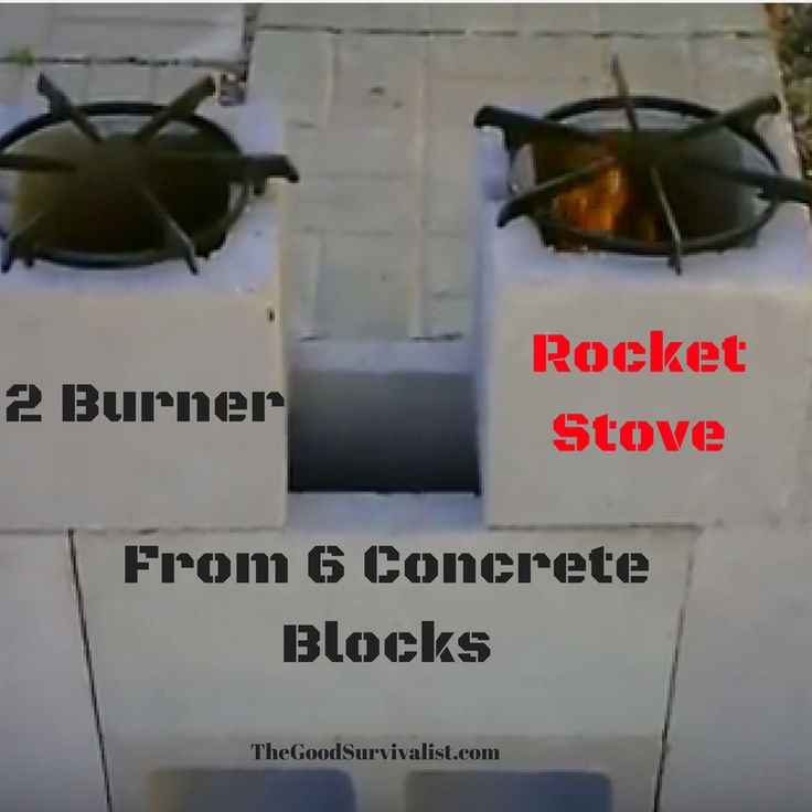 Unique way to stack 6 concrete blocks that will give you a great survival stove. Click the link for easy set up instructions. http://www.thegoodsurvivalist.com/how-to-make-a-diy-2-burner-survival-rocket-stove-out-of-6-concrete-blocks-fast-and-easy/