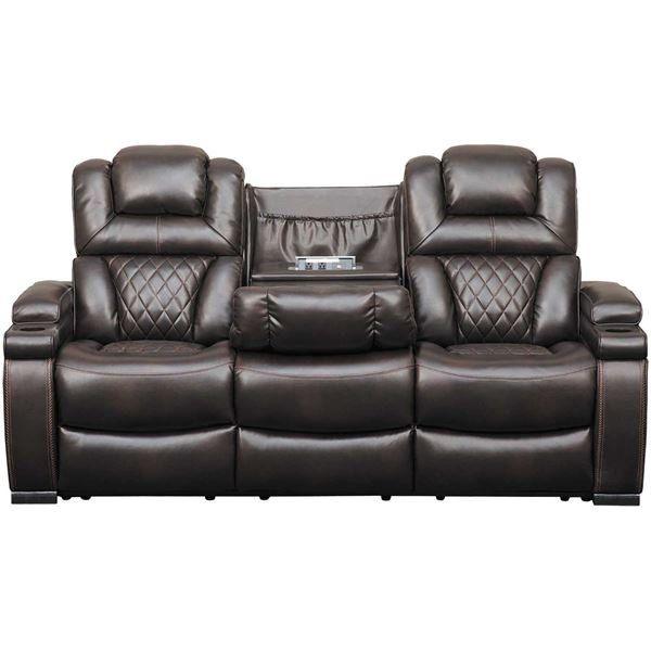 Warnerton Power Reclining Sofa With Drop Table Power Reclining