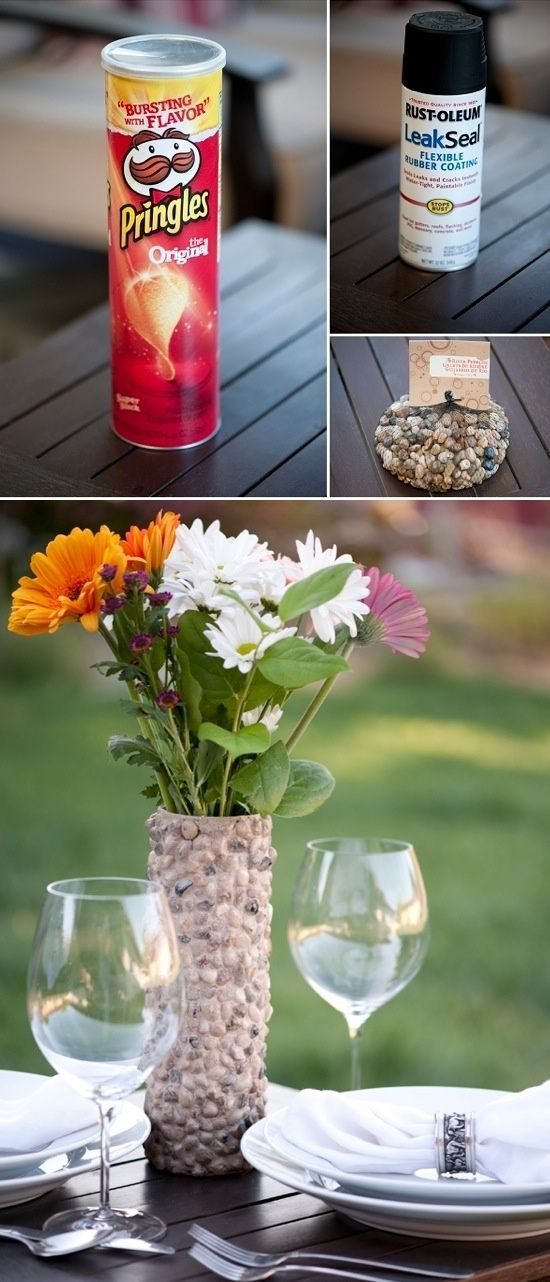Pringle can turned VASE ! Super cute stone vase. Add little glass pieces to make it sparkle in the sun light