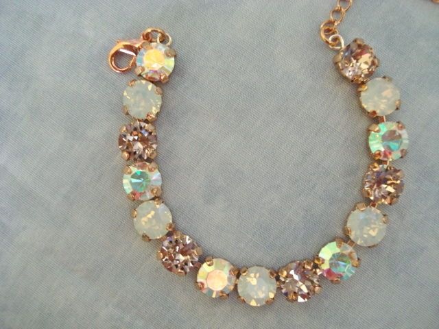 Swarovski crystal rose gold vintage rose bridesmaid tennis bracelet