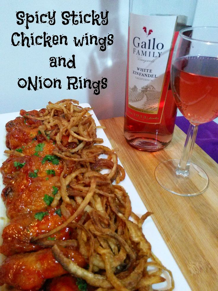 Spicy Sticky Chicken Wings And Onion Rings #SundaySupper #GalloFamily~ Nik Snacks
