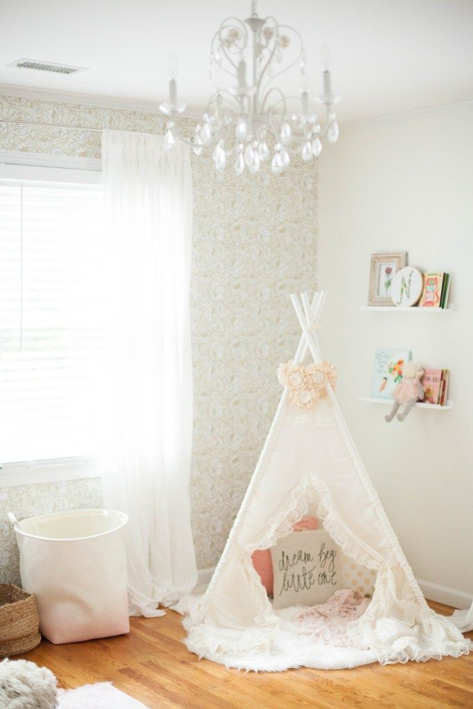A whimsical, bohemian girl's nursery with removable wallpaper and glam accents. @playtexbaby #ad