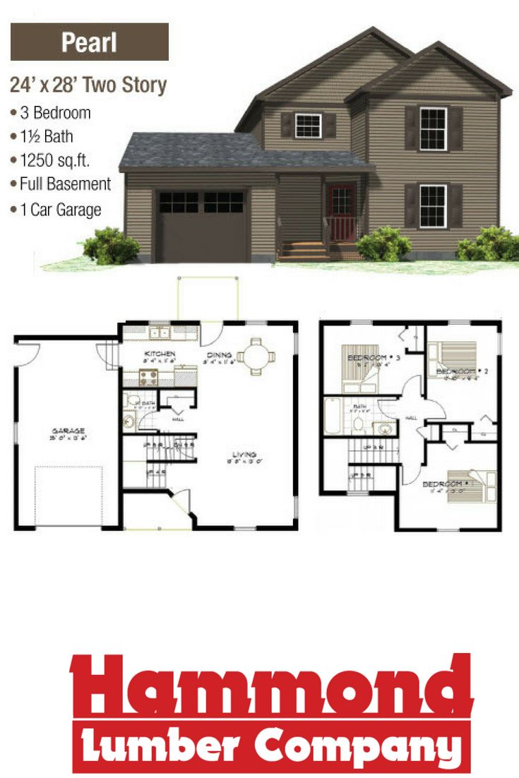 The Pearl Is A 24 X 28 Two Story Home That 1250sq Ft It Has 3 Bedrooms 1 5 Baths Full Bat And Car Garage