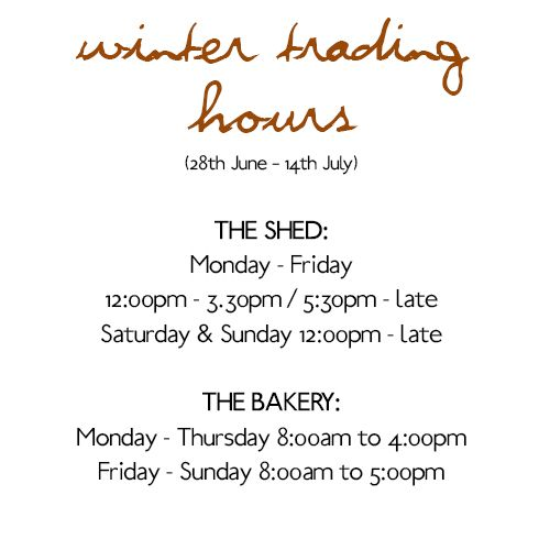 We've updated our trading hours for the June/July school holidays! #RedHillEpicurean