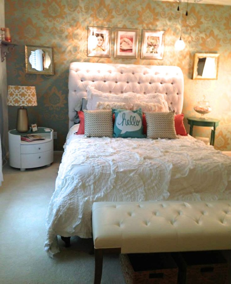 DIY. Bedroom Makeover style, back wall design, colour contrast. Beautiful bedding. Scatter cushions.