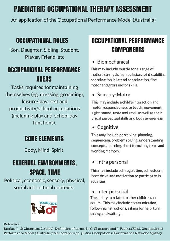 Paediatric Occupational Therapy Assessment: An application of the Occupational Therapy Performance Model (Australia)