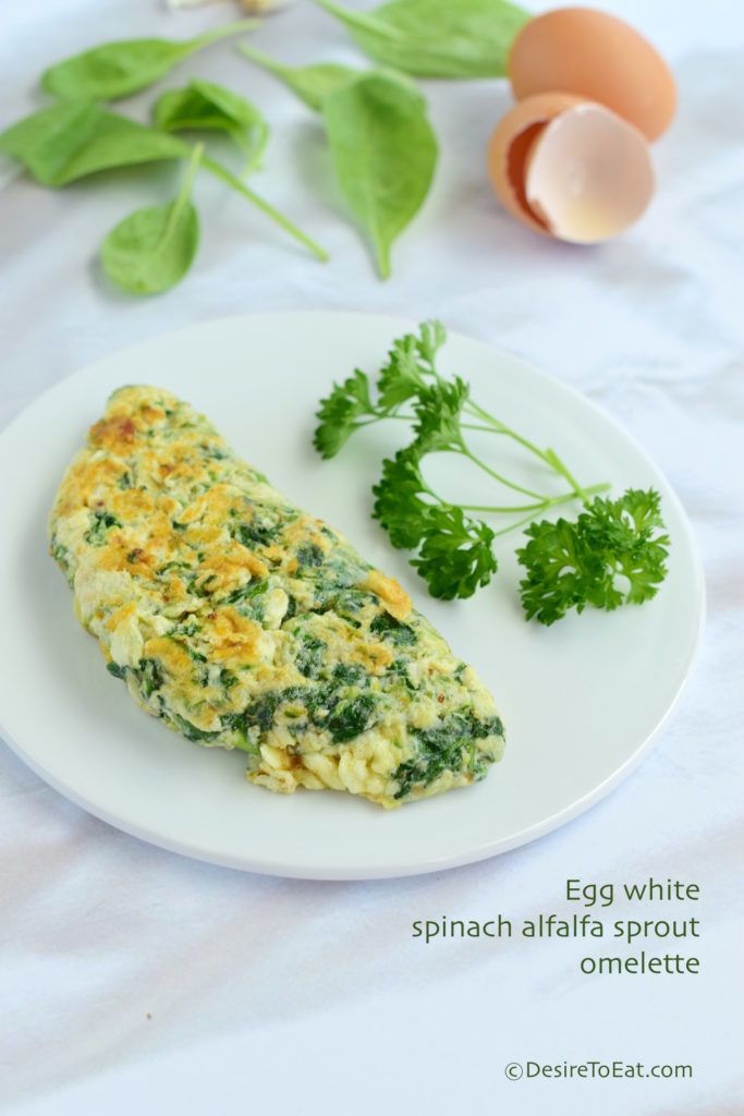 Egg white spinach alfalfa sprout omelette