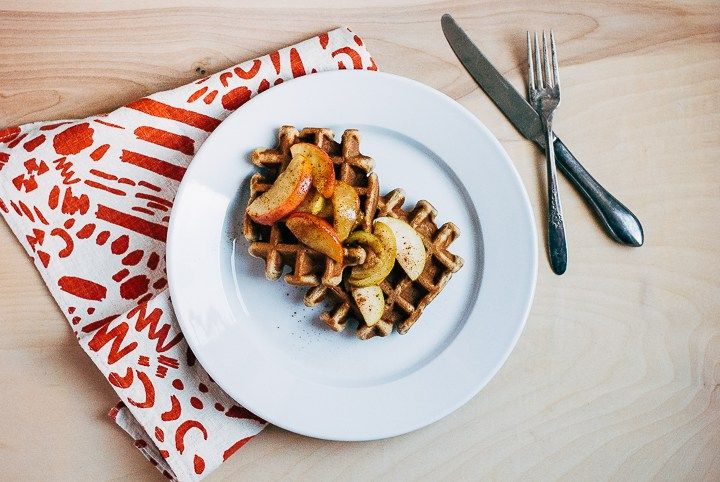 Spiced Apple Waffles with Caramelized Apple Syrup | Recipe | Spiced ...