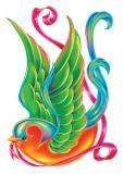 Color Bird Glitter Tattoo