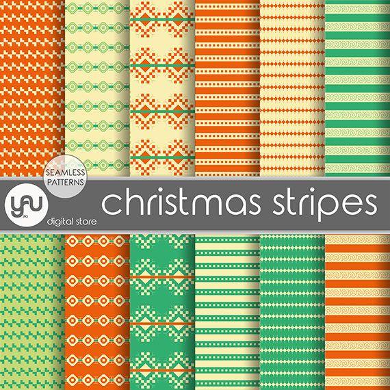 "Christmas digital paper: ""CHRISTMAS STRIPES"" with christmas scrapbook paper, digital christmas paper, christmas digital download for holiday"
