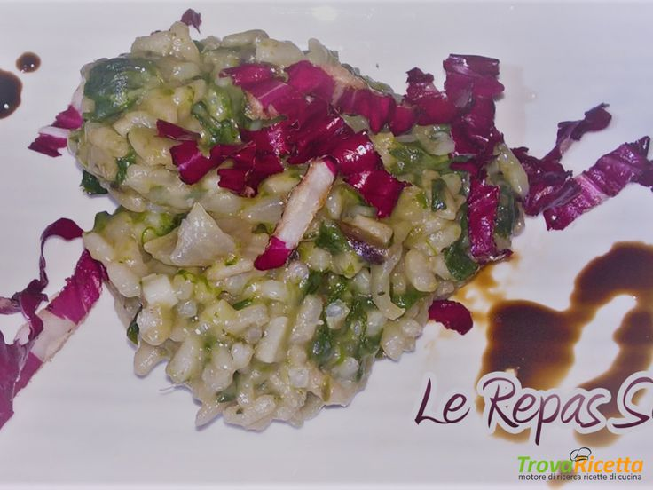 Risotto con radicchio e spinaci #ricette #food #recipes