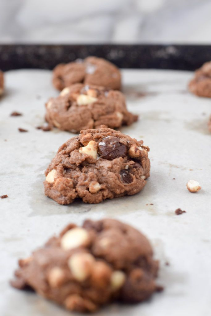 Hot Cocoa Cookies are rich and chocolatey, studded with two kinds of chocolate chips and mini-marshmallows. Like drinking a mug of hot cocoa in a cookie!