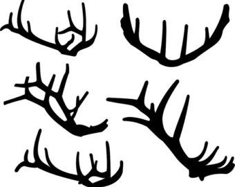 Antlers Silhouette Clipart Elk, Graphic Digital Vector Instant Download, Commercial and Personal Clip Art - Deer