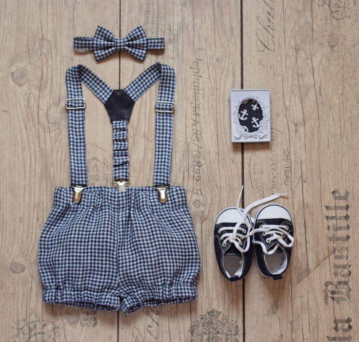 Cake smash outfit Baby boy 1st birthday outfit Navy blue white gingham linen bloomers suspender bow tie set Baby diaper cover Family photo by KidsCakeSmash on Etsy https://www.etsy.com/listing/470155334/cake-smash-outfit-baby-boy-1st-birthday