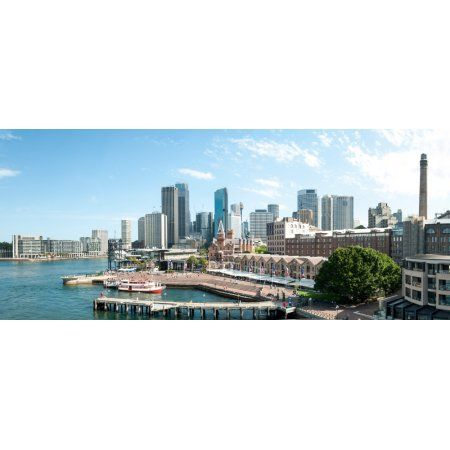 View of Circular Quay and downtown skyscrapers from roof of Park Hyatt Hotel Sydney New South Wales Australia Canvas Art - Panoramic Images (29 x 12)