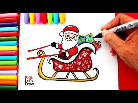 Aprende A Dibujar A Papá Noel En Su Trineo Kawaii How To Draw A Cute Santa Claus On His Sleigh Yout Papa Noel Dibujo Papa Noel Para Dibujar Trineo De Santa
