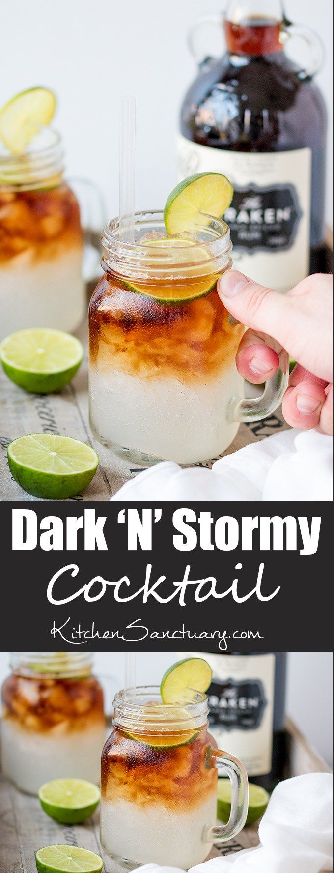 Dark 'N' Stormy - a delicious blend of spiced rum, ginger beer and lime - easy and delicious!