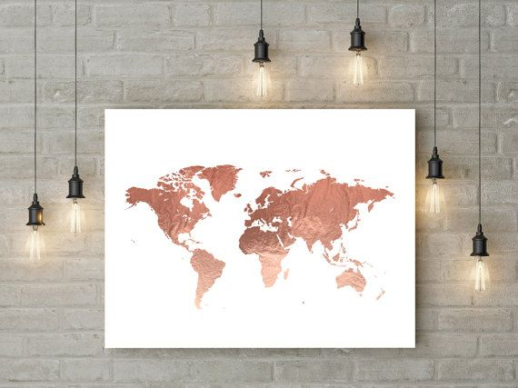 Rose Gold World Map Poster Large World Map Print Faux Foil Map