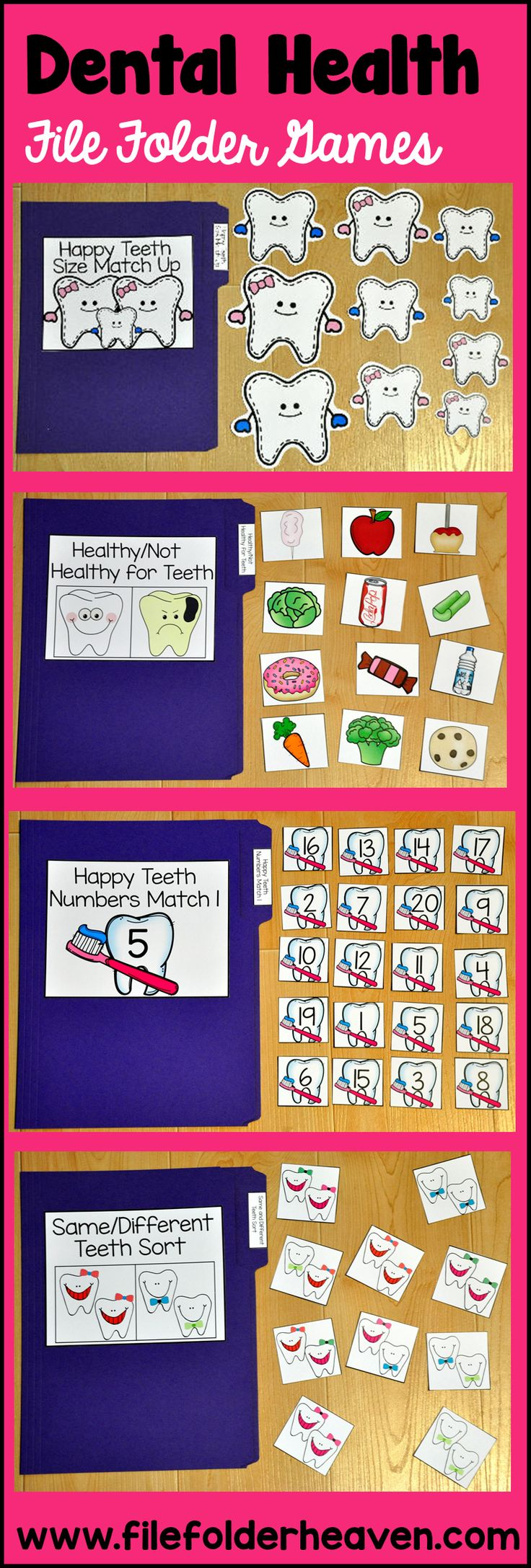 This Dental Health File Folder Games Mini-Bundle focuses on basic matching and sorting skills.  This set includes 9 unique file folder games with two bonus games for differentiation (for a total of 11 games!) These activities  focus on basic skills, such as matching picture to picture, matching shapes, matching numbers, matching letters, matching by size, sorting by size, sorting by color, sorting by likeness and differences, and identifying healthy and unhealthy foods for our teeth.