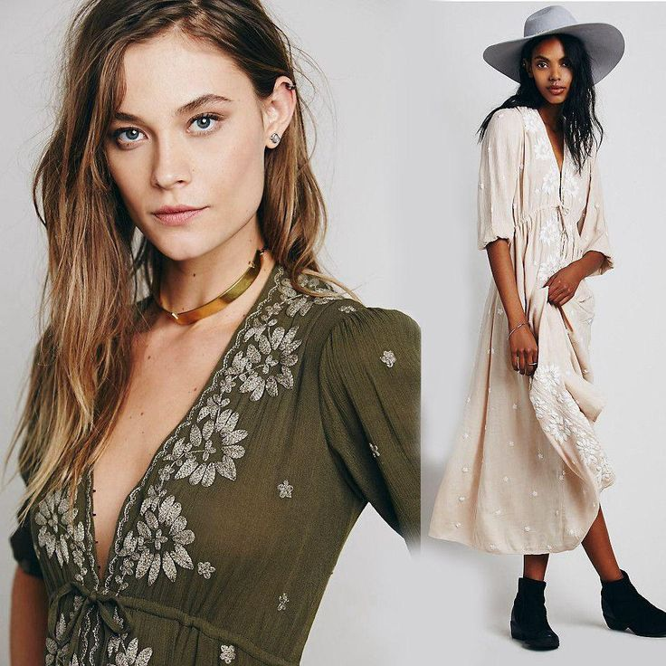 Gender: Women Waistline: Empire Decoration: Embroidery Sleeve Style: Regular Pattern Type: Solid Style: Bohemian Material: Cotton Season: Autumn Dresses Length: