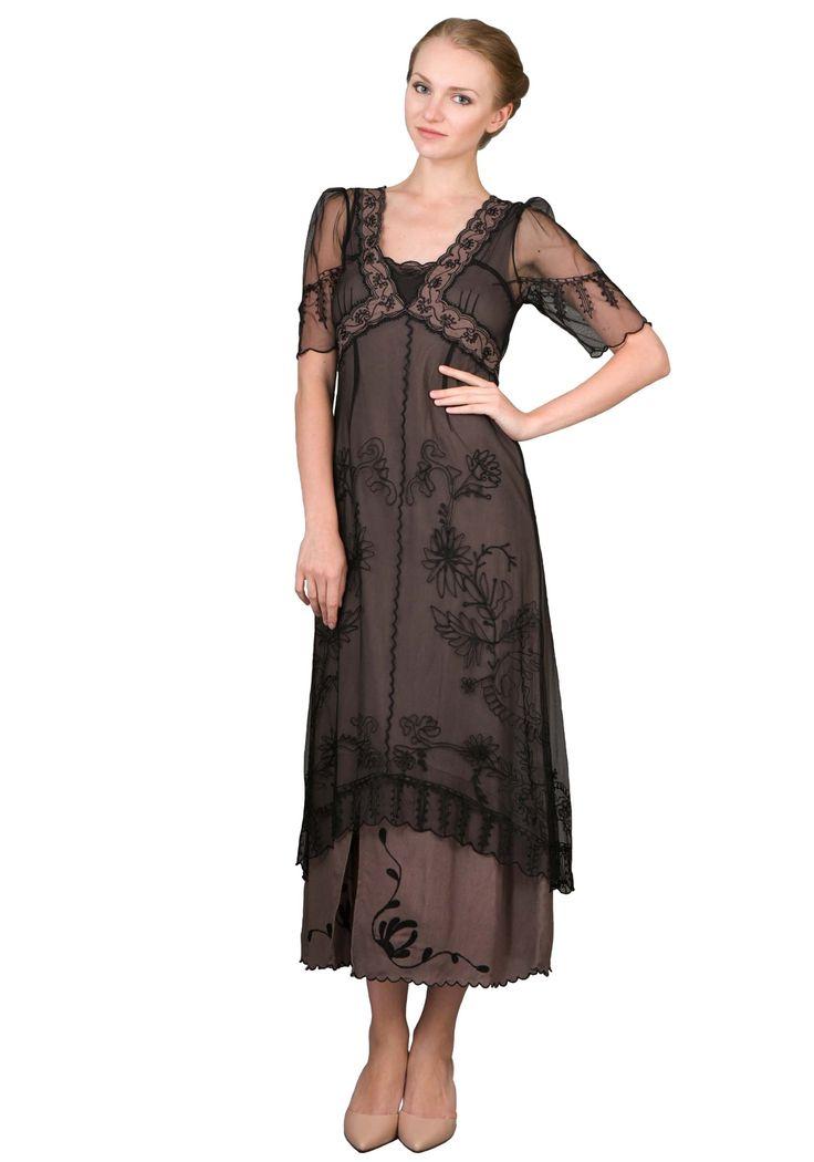 Wonderful  Size 1920s Style Black Beaded Cap Sleeve Downton Abbey Flapper Dress