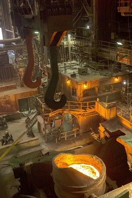 Steel Mill - My husband worked in a steel mill for 37 years.  This is what he did the last years he worked there - he worked in Castor #2 - pouring the steel!