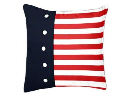American Pride duvet pillow from CushionSource.com! This red, white and blue American flag pillow features a duvet flap and fabric-covered buttons. American style that would be beautiful as a home accent, or for your boat, vacation home, etc.