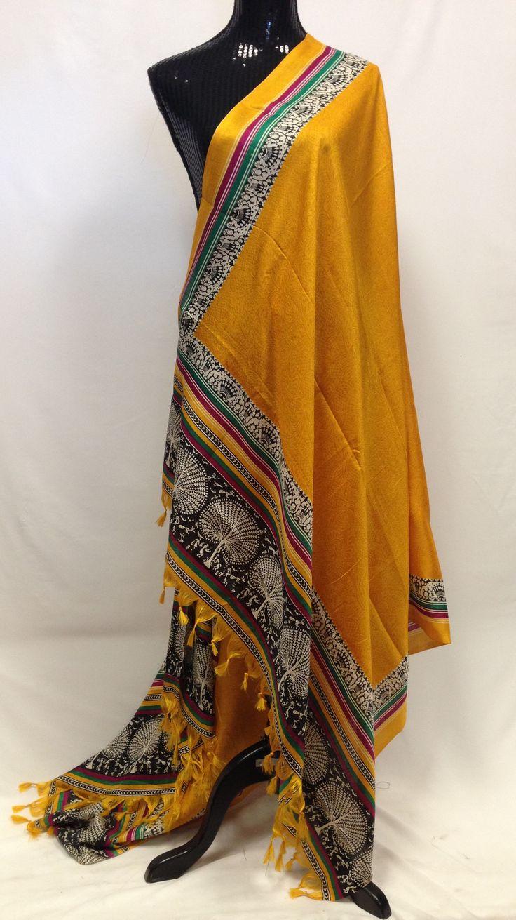 Semi Tussar Silk Printed Dupatta - Yellow