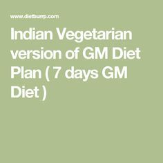 Indian Vegetarian version of GM Diet Plan ( 7 days GM Diet )