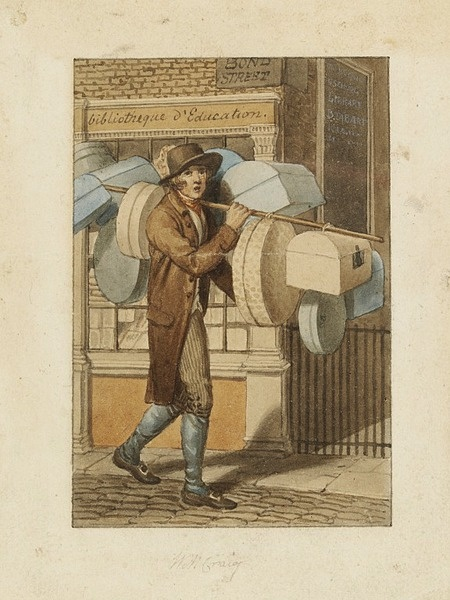 This 1804 watercolour shows a man selling band-boxes outside a Bond Street bookshop. It is one of 31 similar works which William Marshall Craig (c.1750-c.1828) produced to illustrate Modern London, a guide book published by Richard Phillips in 1804. V E.857-2000