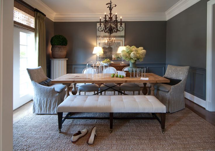 R higgins interiors dining rooms chair rail wainscoting charcoal gray walls trestle for Charcoal gray walls living room