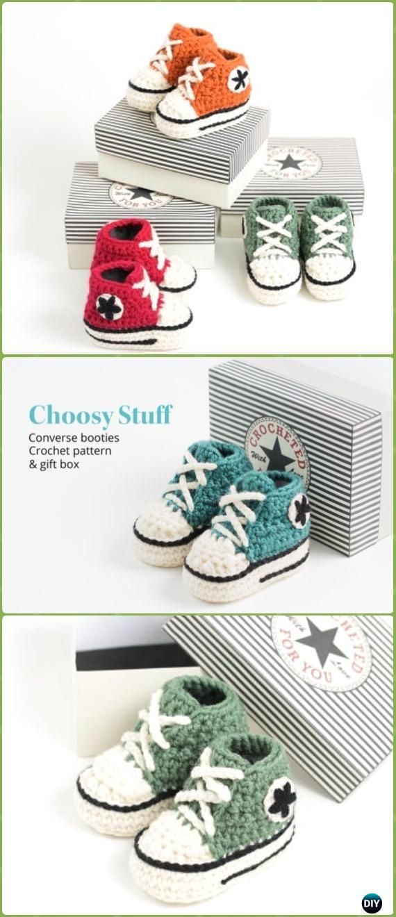 91d7e9cac0d2 Crochet High Top Converse Booties Free Pattern Video - Crochet Sneaker  Slippers Free Patterns