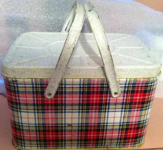 Vintage GSW Metal Picnic Basket/Lunch Box Red/Green/Yellow Plaid