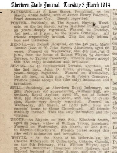 1914 Death Notice of Annie Selbie wife of James Henry Paterson