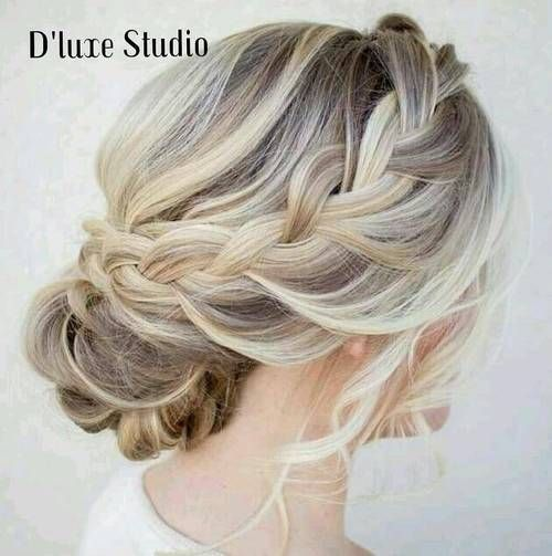 braided updo for brown blonde hair with platinum highlights