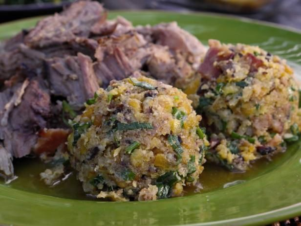 Get Funky Mofongo with Sopa de Pollo and Puerto Rican Roast Pork Recipe from Food Network