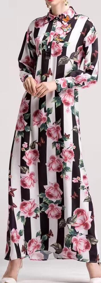 Floral & Stripe Printed Butterfly Appliques Maxi Shirt-Dress