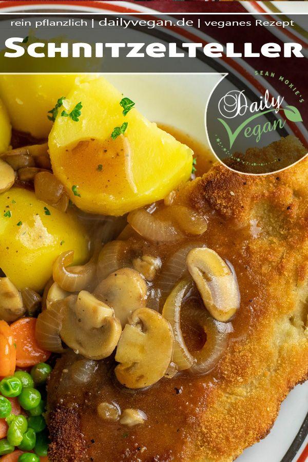 Veganes Schnitzel Mit Kartoffeln Sauce Erbsen Und Mohrchen Rezept Erbsen Und Mohren Rezepte Schnitzel