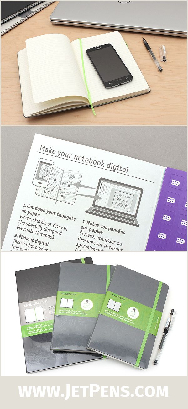 The new Moleskine Evernote Notebooks can seamlessly integrate with the Evernote app, thus combining analog note-taking with the convenience of digital storage.