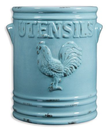 Home essentials and beyond aqua rooster 7 39 39 utensil crock roosters aqua and chicken kitchen - Aqua utensil holder ...