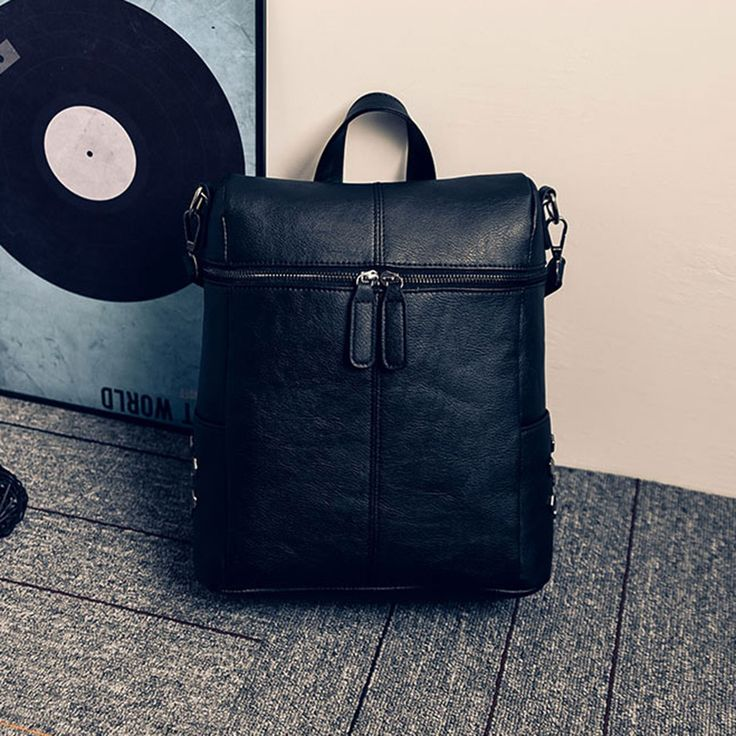 New Arrival Casual Backpacks For Women Preppy PU leather School Bag For Teenage Girls Rivet Decorated Lady travel shoulder bag