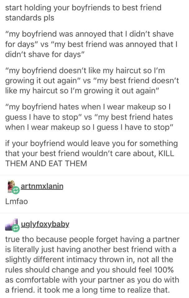 Hold your significant other to your best friend standards