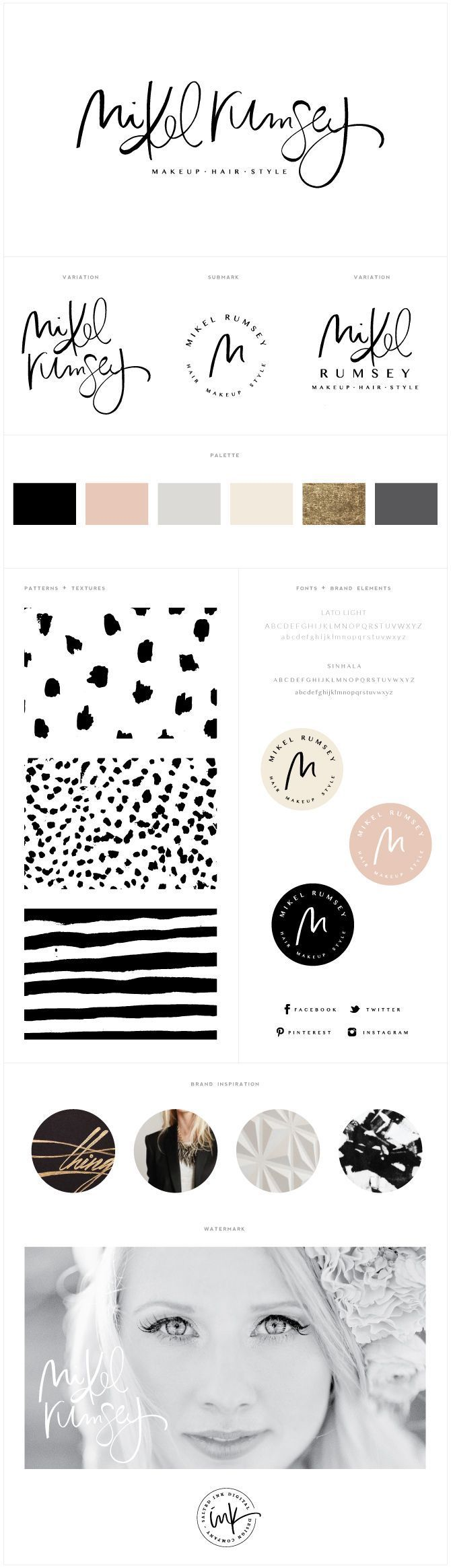 Brand Launch: Mikel Rumsey | Brand Board, Brand Styling, Brand Design, Hand Letterer, Hand Lettered, Hand Drawn, Brush Pen | www.saltedink.com