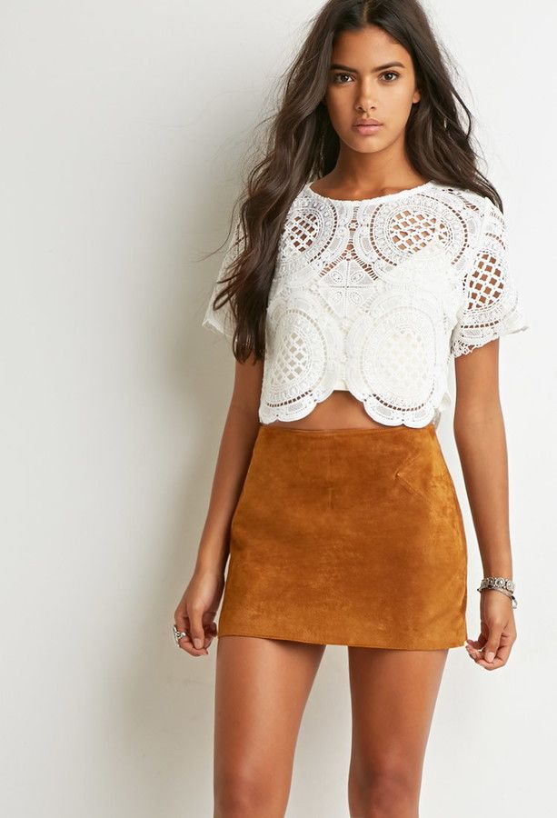 Suede Mini Skirt, lace top