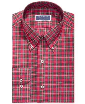 Men's B&T Stretch Stewart Tartan Dress Shirt, Created for Macy's