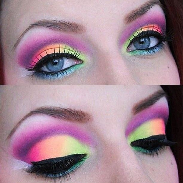 Neon eyeshadow on light blue eyes. Fun party eye makeup idea! Get more bright #eyemakeup ideas in our article http://minkilashes.org/10-bright-eye-makeup-ideas-to-make-a-statement/