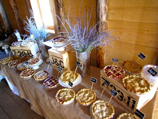 Pie Table. I love th boxes with our initials and dates. Will do cork tag with pie type on it.