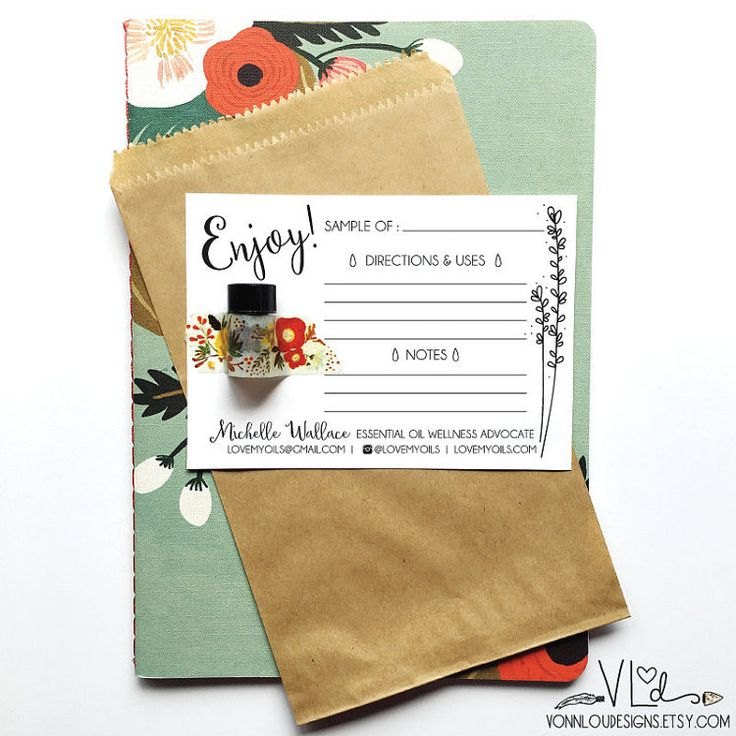 printable essential oil sample cards hand by VonnLouDESIGNS