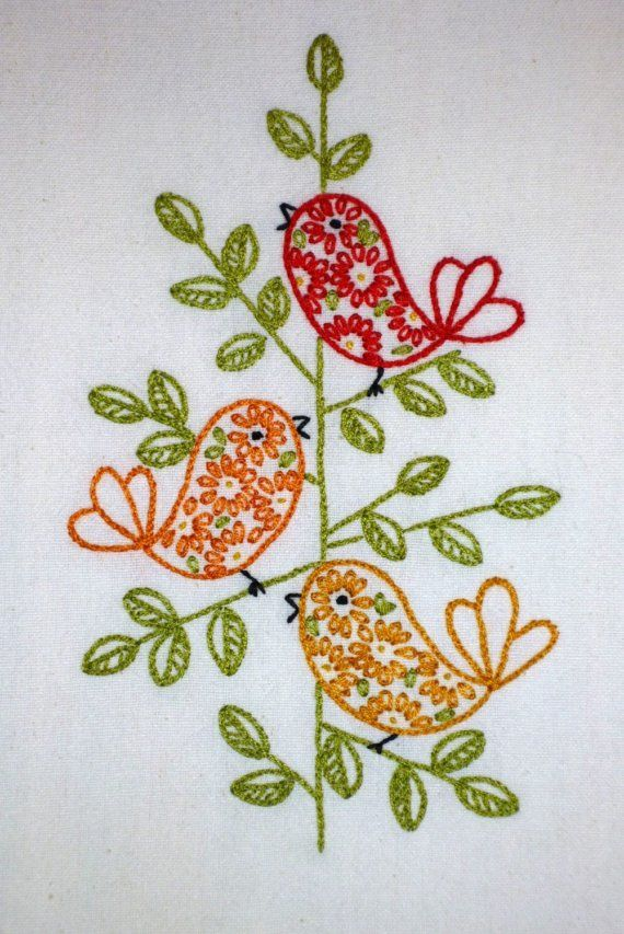Retro Birds Hand-Embroidered Tea Towel/Dishtowel/Towel via Etsy