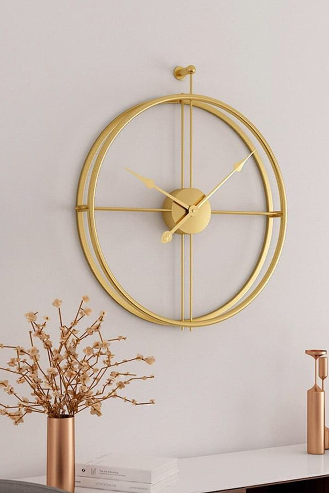30 Modern Wall Clock To Make Up Your Home Gold Wall Clock Wall Clock Modern Metal Wall Clock